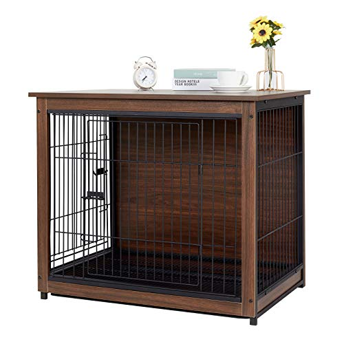 """Bingopaw Wooden Dog Crate, Medium Dog Cage Indoor Dog Cage End Table Pet Crate with Floor Tray 30"""""""