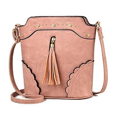Crossbody Bags for Women Small Tassel Messenger Bag Lightweight PU Leather Bucket Bag