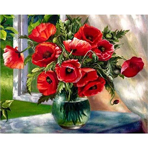 Doe-het-zelf schilderen op nummer-set, vaas met rode tekst op de vensterbank, digitale schilderkunst, canvas, set voor verjaardag, bruiloft, nieuwe woning, Kerstmis, decoratie, geschenken