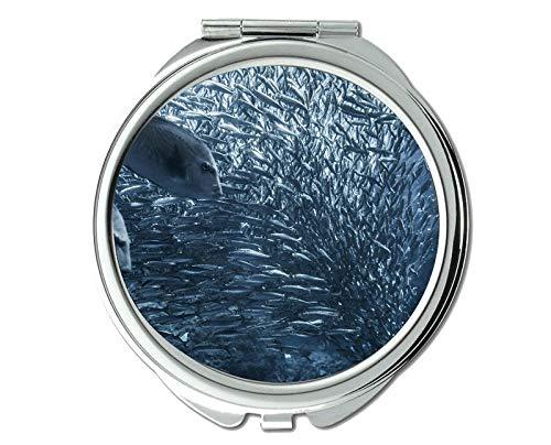 Yanteng Spiegel, Schminkspiegel, tropischer Fischmotiv des Taschenspiegels, tragbarer Spiegel 1 X 2X Vergrößerung
