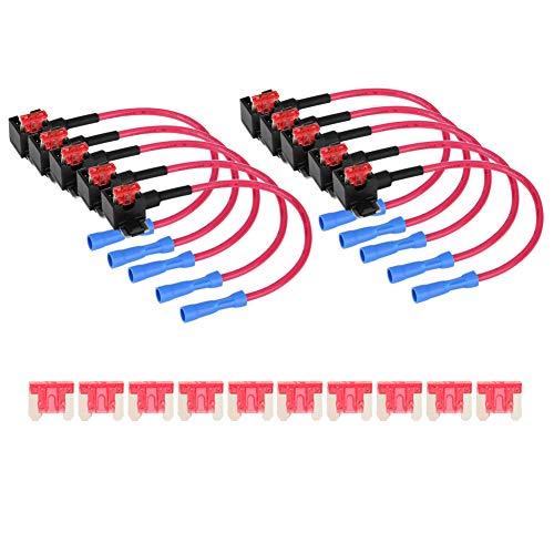 Fusible de hoja estándar 10 piezas Auto coche añadir circuito fusible adaptador de grifo portafusible de hoja 18 cm(Mini)