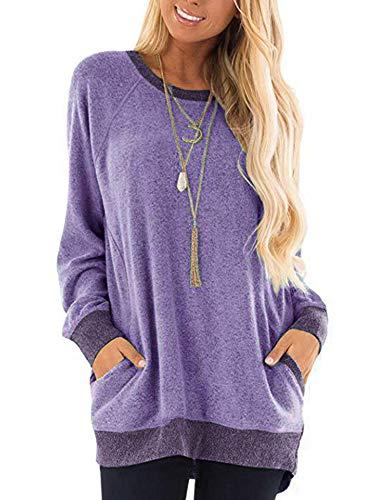 Beyove Womens Casual Color Block Long/Short Sleeve Pocket Lightweight Knit Sweatshirts T Shirts Round Neck Blouses Tops Lavender Large