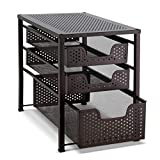 Bextsware Stackable Multi-Function Under Sink Organizer 3 Tier Sliding Basket Cabinet, Bronze