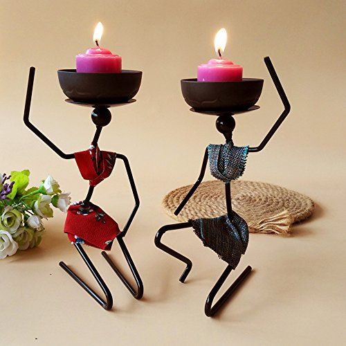 A Pair of Iron Art Candle Holders African Women & Man Metal Sculpture Antique Decorative with Ceramics Incense Holders/Food Dishes