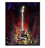 Van Halen Guitar Wall Art Poster - 8x10 FrankenStrat Home Decor Print for Bedroom, Living, Game or Rec Room - Cool Unique Gift for 80's Music Fan, Musician, Guitar Player - UNFRAMED Picture Print