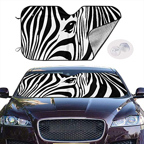 VTIUA Parasol para Parabrisas Frontal de Coche,Dibujo De Cara De Cebra Portable Universal Sunshade Keeps Vehicle Cooler for Car,SUV,Trucks,Minivan Automotive and Most Vehicle Sunshade (51 X 27 in)