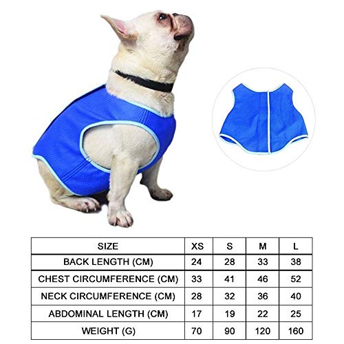 OOFAYWFD Azul Perro Enfriamiento Chaleco Abrigo Mascota Pantano Cooler Chaqueta Refleja Calor De Verano