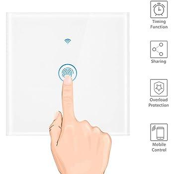 Compatible con Google Home//Nest//Alexa Sincronizaci/ón Interruptor de Pared OWSOO SONOFF 1CH Interruptor T/áctil de Pared WiFi Soporte Control de 433Mhz RF//Control Remoto de App//Control T/áctil