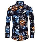 LUONE Camisas de Vestir, Camisa de la impresión de los Hombres de Manga Larga Camisas de Flores, Fiesta Night Club Tuxedo Ocasionales Adelgazan Las Camisas de la Blusa de Calle Homme,Azul,4XL