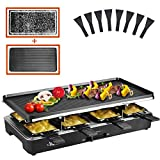 Artestia raclette table grill ,electric indoor grill with Non-Stick Grill Plate and grill stones, 1200W Electric Grill Fast Heating with 8 Cheese Melt Pans, Ideal for Parties and Family Fun