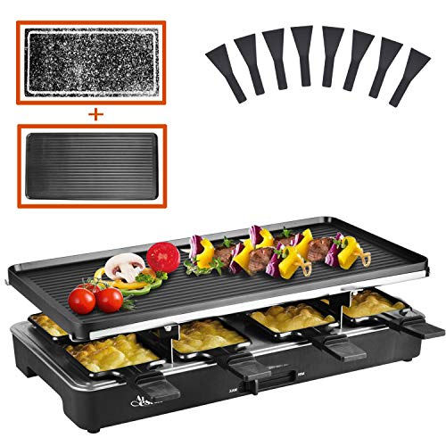 Artestia raclette table grill,electric indoor grill,Portable 2 in 1 Korean BBQ Grill Indoor with 8 Paddles ,1200W electric grill with grill stone and Non-Stick Reversible Plate for Parties and Family