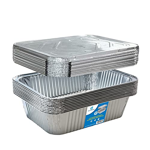 (20) 5-lb Square Deep Disposable Aluminum Pans with Lids - Foil Pans perfect for baking cooking food and storage container