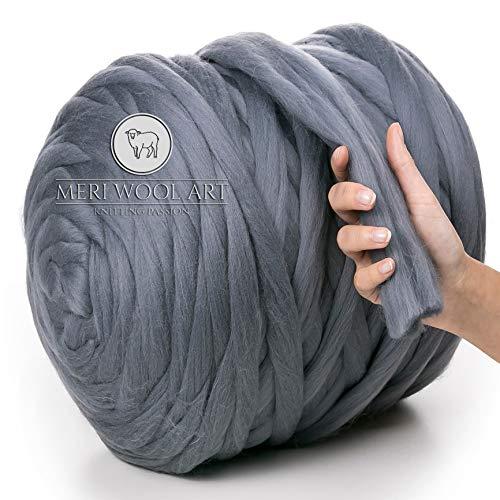 MeriWoolArt 100% lana merina, hilo grueso, súper suave, 25 micrones extra grueso   4-5 cm   Brazo Tejido Manta Lanzamiento Bufandas Vestir Hilado Fieltro (DARK GREY, 250g)