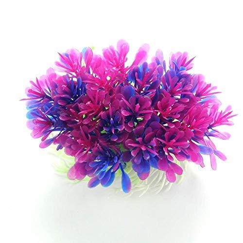 ZSLLO Paarse Kunstmatige Kunststof Plant Onderwater Gras Vistank Aquarium Ornament Decoratie Bloem Gras Gazon Met Keramische Basis