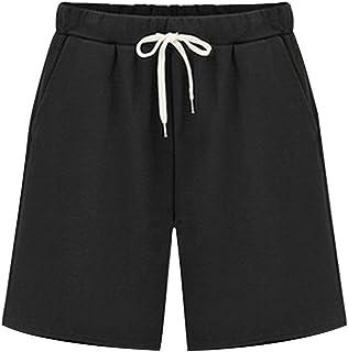 Gooket Women's Soft Knit Elastic Waist Jersey Bermuda Shorts with Drawstring