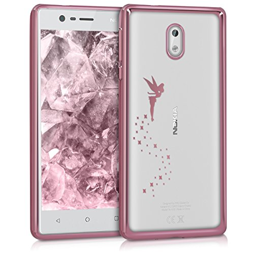 kwmobile Nokia 3 Hülle - Handyhülle für Nokia 3 - Handy Case in Fee Design Rosegold Transparent