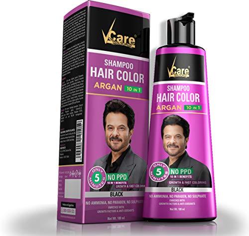 VCare Hair color shampoo Argan 10 in 1 Black Color 180 ml