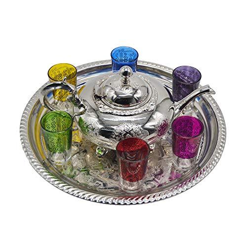 Servizio da tè completo. Marocco Include un vassoio argentato di 38 cm, 6 bicchieri tipici e 1 teiera in alpaca del peso di 1 kg. Un litro equivalente a 12 bicchieri. Ottima qualità e design
