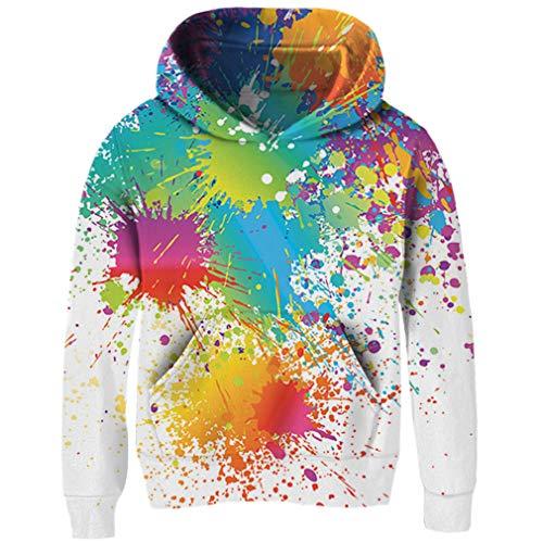RAISEVERN Children Hoodie Colorful Paint Art Digital Print Fleece Hoodies Fashion Casual Lightweight Pullover Hooded Sweatshirt for Kids