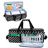 CURMIO Carrying Case Compatible with Cricut Explore Air 2, Cricut Maker, Silhouette Cameo 4 and Cameo 3, Travel Storage Bag with Pockets for Craft Tools and Accessories, Black Dots