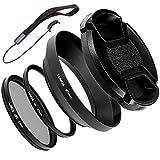 Lumos Kit d'accessoires 67 mm | Pare-soleil métallique CPL Filtre polarisant UV pour Nikon Coolpix P900 ainsi que Nikkor 18-105 et 18-140 mm VR