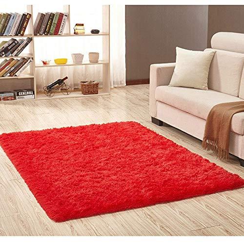 Ilios Innova Tapete Decorativo Tipo Shag 2mx1.6m, de Fibra Larga, Suave y Caliente Ideal para Sala, recamara, tapete para la Sala, facil de Limpiar, Material Ligera (Rojo1)