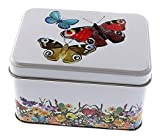Perfekto24 Caja de lata con tapa, diseño de mariposa, de hojalata, de uso...