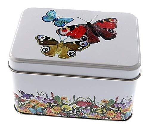 Perfekto24 Caja de lata con tapa, diseño de mariposa, de hojalata, de uso universal