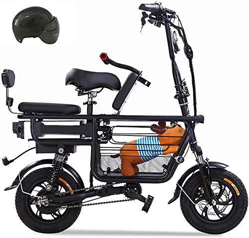 Bicicletas Eléctricas, Bicicleta eléctrica for padres e hijos con 48V 8A batería de litio E-bicicletas con sillitas for niños y grandes de la cesta del almacenaje Scooter eléctrico con doble absorción