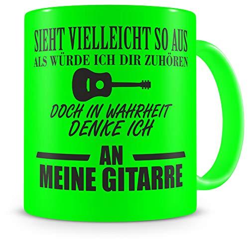 Samunshi® Ich denke an meine Gitarre Tasse Kaffeetasse Teetasse Kaffeepott Kaffeebecher Becher H:95mm/D:82mm neon grün