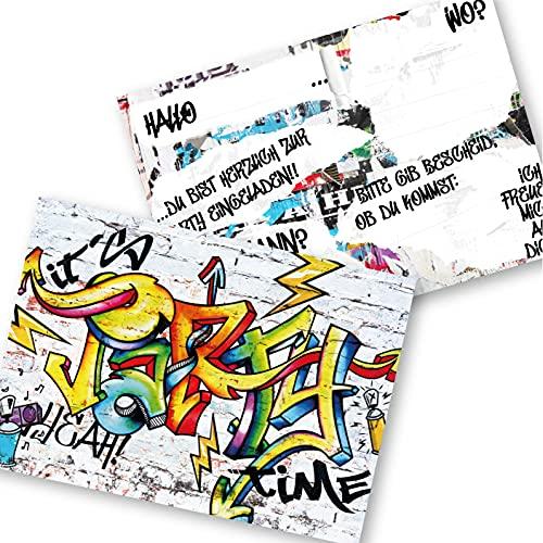 12 Einladungskarten für Geburtstag und Partys, die Graffiti Karten sind die perfekten Einladungen für Jungen und Mädchen zum Kindergeburtstag und Anderen Feiern (Bunt)