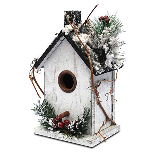 Later M nl01 Winter+Christmas Bird Houses Decor (9.5 in) A Unique Beauty, W, White