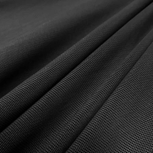 Power Mesh Fabric | 5 Yards Continuous | 60' Wide | 4-Way Stretch, 10% Spandex | Lightweight, Sheer (Black)