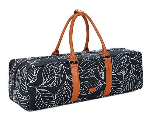 BAOSHA YG-01 Yoga Mat Bag Segeltuch Yogatasche Durchgehende Reißverschluss Tragetasche für Yoga, Pilates, Fitness und Gymnastikmatten mit Multifunktions Aufbewahrungstaschen (Blau Leaf)