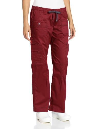 Dickies Women's Gen Flex Junior Fit Contrast Stitch Cargo Medical Scrubs Pants, Wine, S P