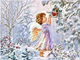 New 5D Diamond Painting Kits for Adults Kids, Awesocrafts Angel Girl Bird Flowers Christmas Forest Full Drill DIY Diamond Art Embroidery Paint by Numbers with Diamonds (Angel)
