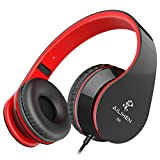 AILIHEN I60 On Ear Headphones with Microphone for Cellphones Laptop Tablet Android Smartphones(Black Red)