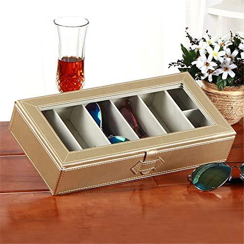 Yamyannie Caja de Almacenamiento de Gafas Hogar de Cuero Grande Gafas Lentes de Sol Caja con Tapa Transparente Joyería Box para Gafas (Color : Gold, Size : 32.5cmx16cmx5.5cm)