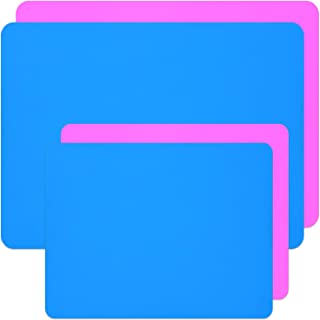 Coopay 4 Pieces A3 A4 Extra Large Silicone Sheet Silicone Mats for Crafts Resin Jewelry Casting Mat Tumbler Sheets, Waterproof Heat-Resistant (Blue and Pink, 15.7`` x 11.8`` & 11.6`` x 8.3``)