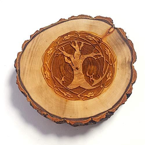 Celtic Tree of Life Tree Slice Incense Holder, Rustic Wooden Incense Stick Burner, Ash Catcher