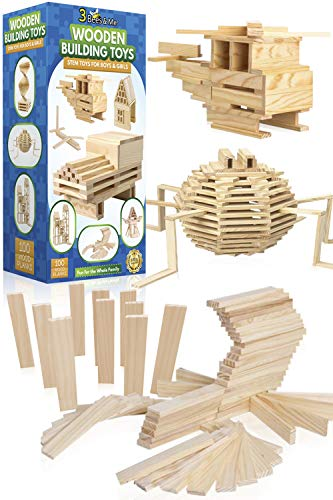 3 Bees amp Me Wooden Building Toys  STEM Toys for Boys and Girls  100 Wood Plank Pieces