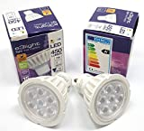 e3light - 2 bombillas LED GU10, regulables, 7 W, 66 W, comodidad cálida, repuesto para bombillas halógenas GU10, 2700 K, 450 lúmenes, 89% de ahorro de energía