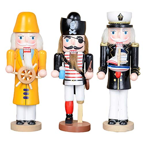LUYIYI Christmas Nutcracker Ornaments Set, Wooden Nutcracker Pirate Captain and Naval Figurine Display Set, 3 Pack, 3.5' Tall