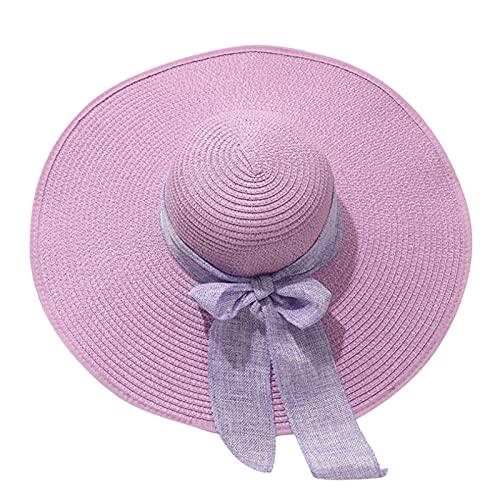 Sombrero para el sol mujer Sombrero de mujer sol playa sombrero protección playa gorra gorra aeros aleros transpirable pescador sombrero paja gorra sombrero verano playa sombrero ( Color : Purple )