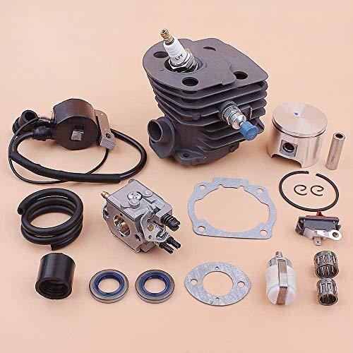 HaoYueDa Kit de Bobina de Encendido de carburador de pistón de Cilindro de 46 mm Compatible con Husqvarna 55 51 Línea de Filtro de Combustible Junta de Sello de Aceite Cojinete de Motosierra