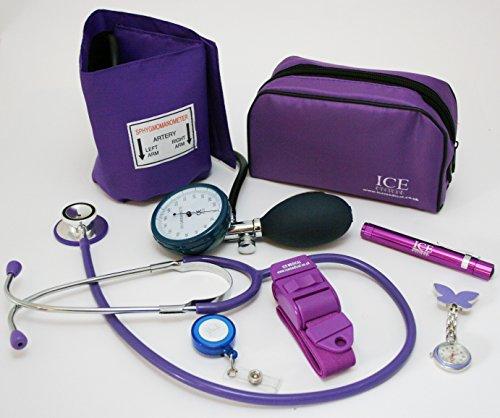 Aneroid-Blutdruckmessgerät/Blutdruckmessgerät, Stethoskop, Stiftlicht (Stifttasche), Tourniquet, Schmetterlingsschwesternuhr, einziehbares Umhängeband – Starter-Set