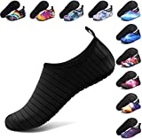 ANLUKE Water Shoes Barefoot Aqua Yoga Socks Quick-Dry Beach Swim Surf Shoes for Women Men Black/Solid 38/39