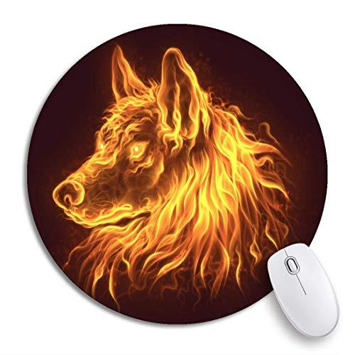 Rundes Mauspad Tier Feuer Wolfskopf Brennende Flammen Schöne digitale Zeichnung rutschfeste Gummibasis Mausmatte Gaming Mousepad für Computer