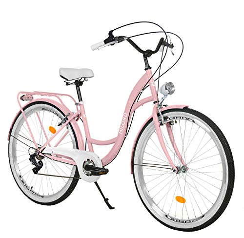 Milord. 28 Zoll 7-Gang Rosa Komfort Fahrrad mit Rückenträger, Hollandrad, Damenfahrrad, Citybike, Cityrad, Retro, Vintage