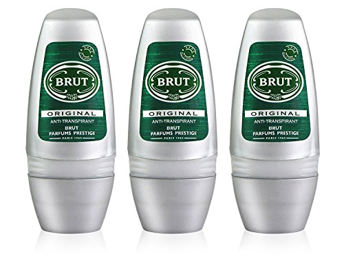 3x Brut ORIGINAL MENS Roll On DEODORANT Antiperspirant 50ml by Faberge by Brut